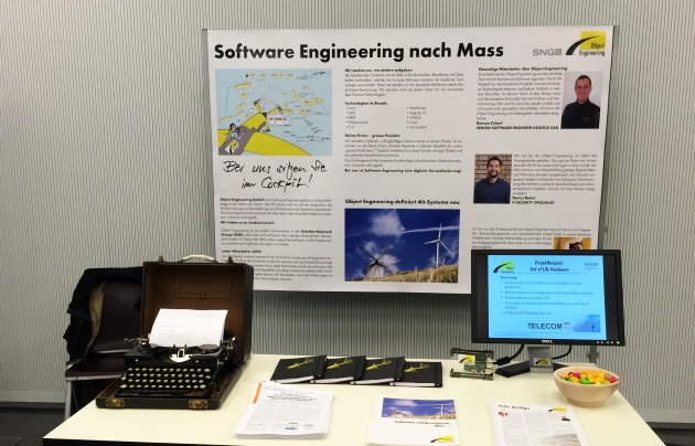 Stand of Object Engineering GmbH at the job exchange in HS Rapperswil.